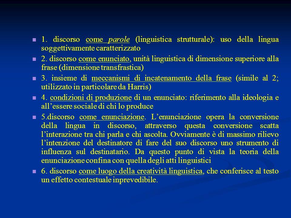 1. discorso come parole (linguistica strutturale): uso della lingua soggettivamente caratterizzato