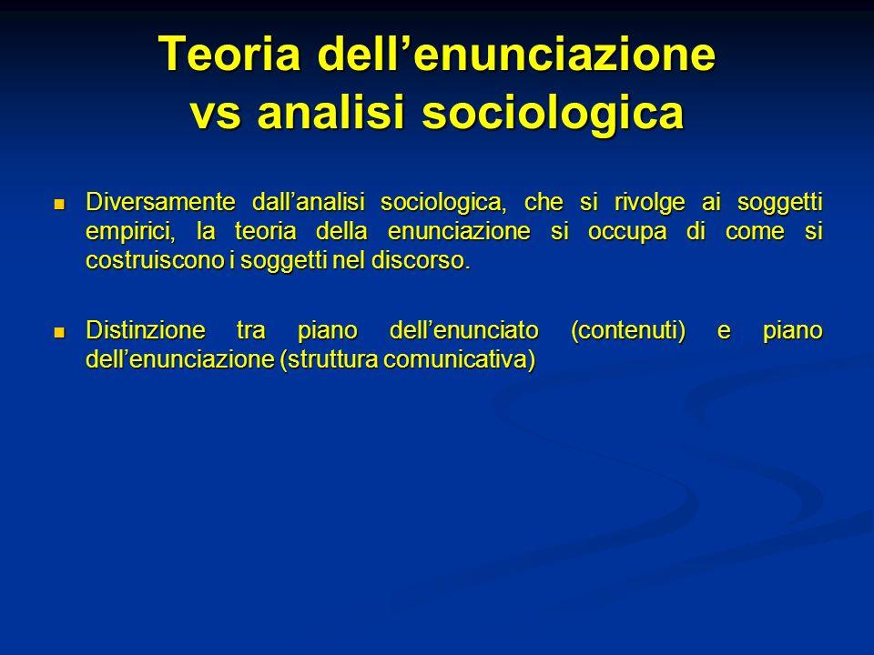 Teoria dell'enunciazione vs analisi sociologica