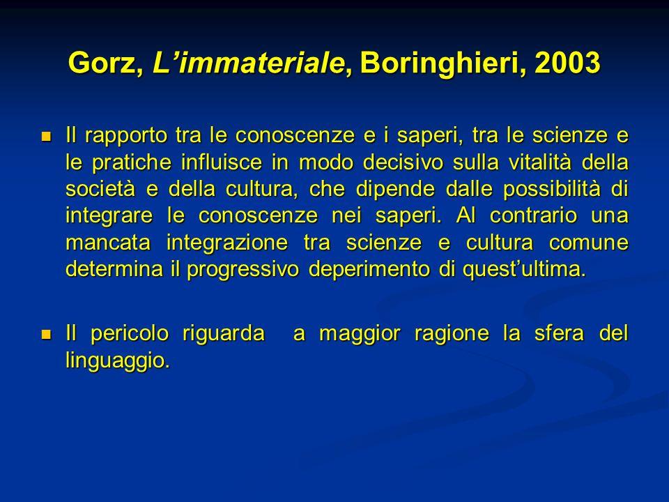 Gorz, L'immateriale, Boringhieri, 2003