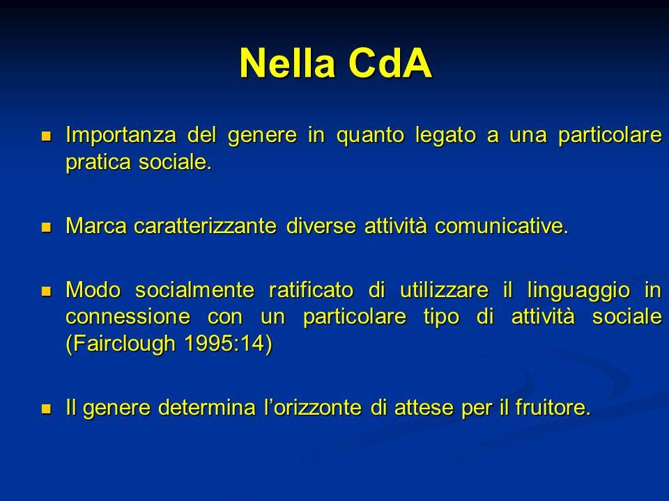 Nella CdA Importanza del genere in quanto legato a una particolare pratica sociale. Marca caratterizzante diverse attività comunicative.