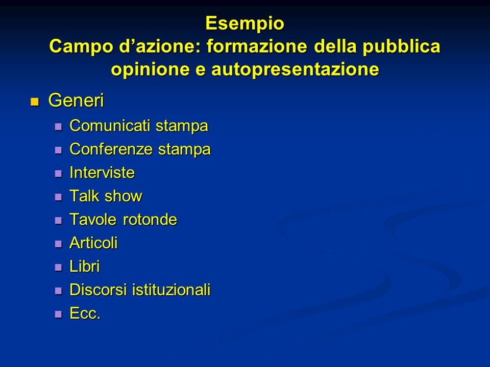 Esempio Campo d'azione: formazione della pubblica opinione e autopresentazione