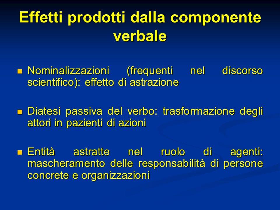 Effetti prodotti dalla componente verbale