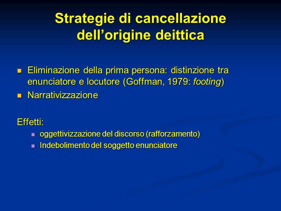 Strategie di cancellazione dell'origine deittica