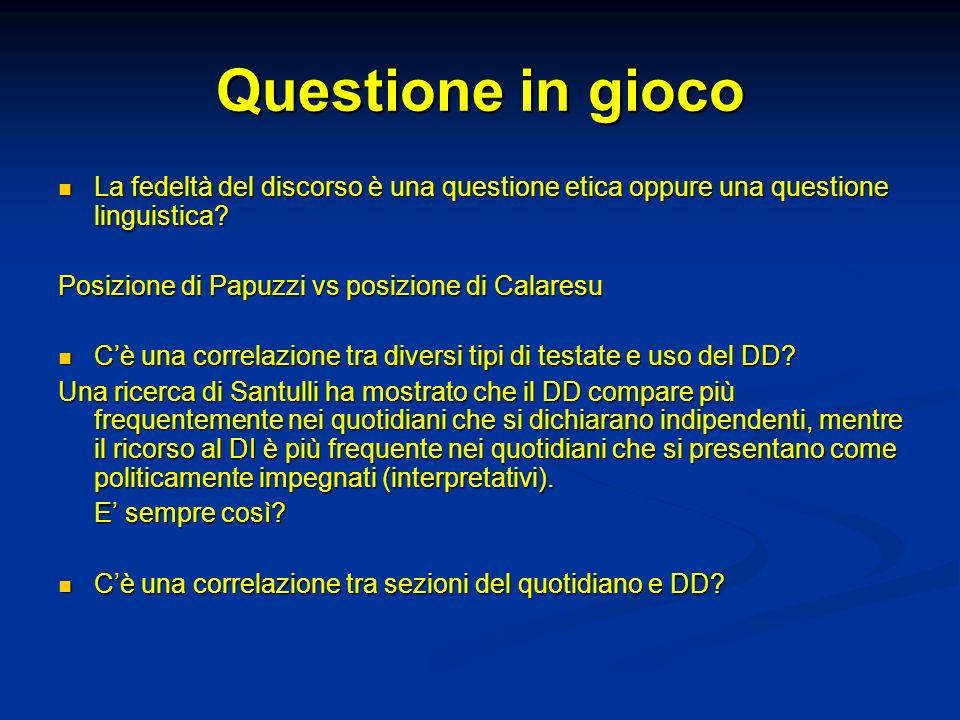 Questione in gioco La fedeltà del discorso è una questione etica oppure una questione linguistica Posizione di Papuzzi vs posizione di Calaresu.