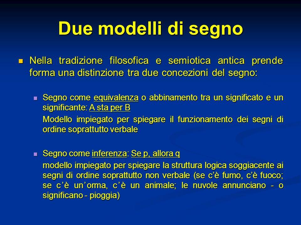 Due modelli di segnoNella tradizione filosofica e semiotica antica prende forma una distinzione tra due concezioni del segno:
