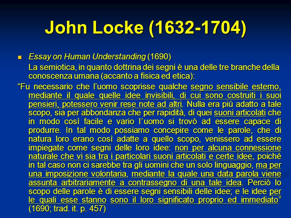 John Locke (1632-1704) Essay on Human Understanding (1690)