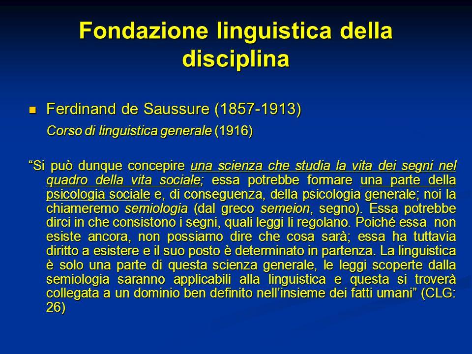 Fondazione linguistica della disciplina