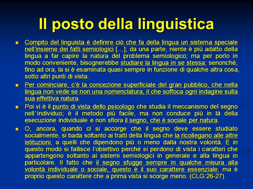 Il posto della linguistica