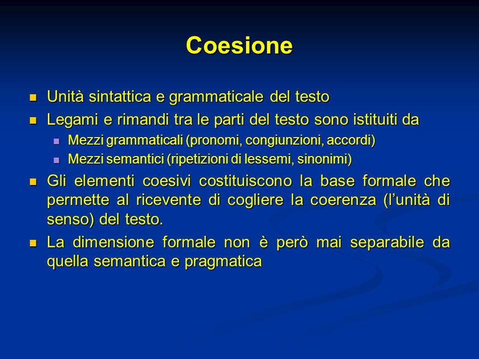 Coesione Unità sintattica e grammaticale del testo