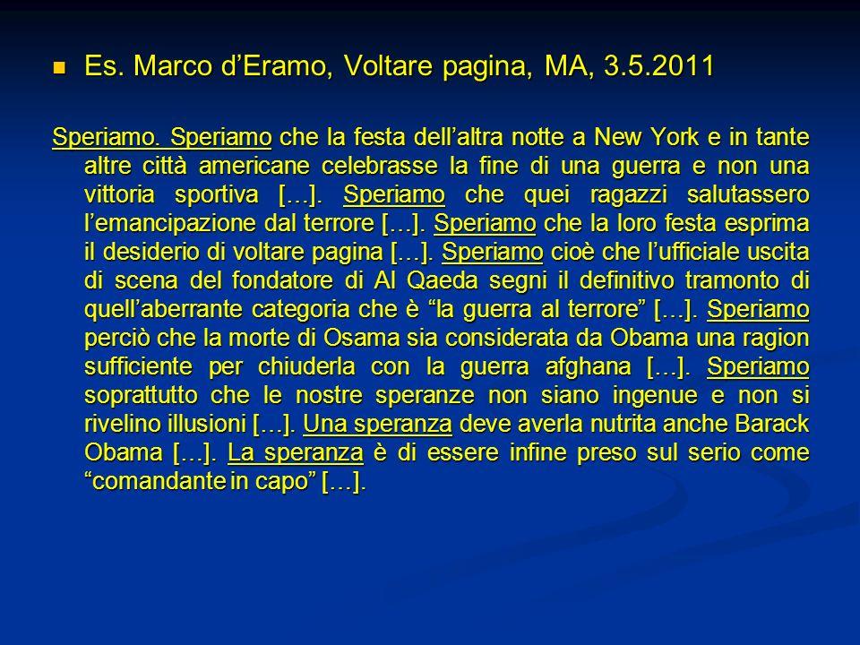 Es. Marco d'Eramo, Voltare pagina, MA, 3.5.2011