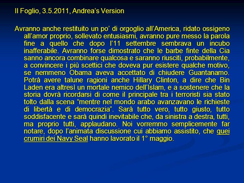 Il Foglio, 3.5.2011, Andrea's Version