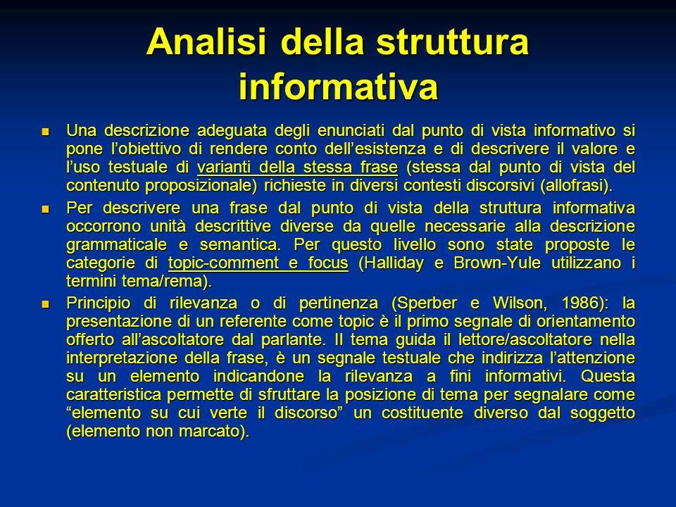 Analisi della struttura informativa