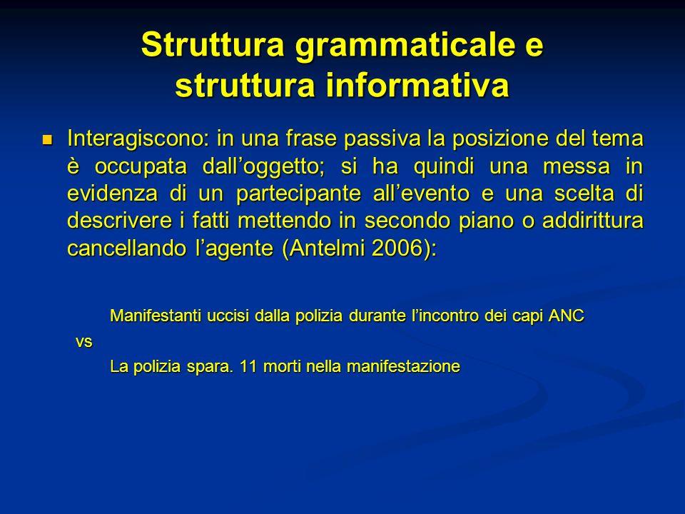 Struttura grammaticale e struttura informativa