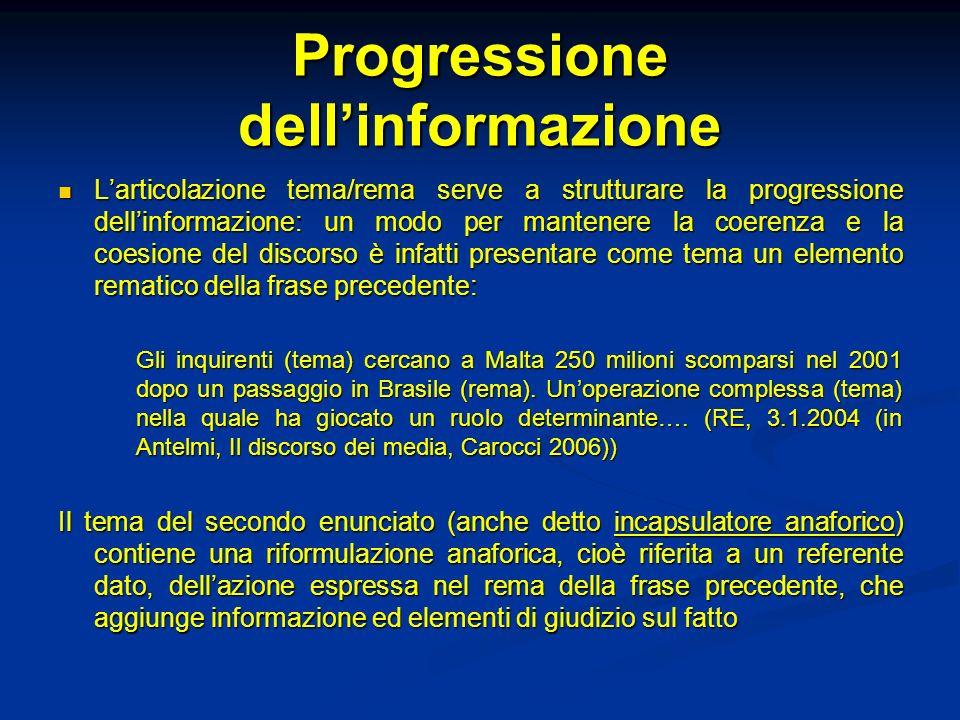 Progressione dell'informazione