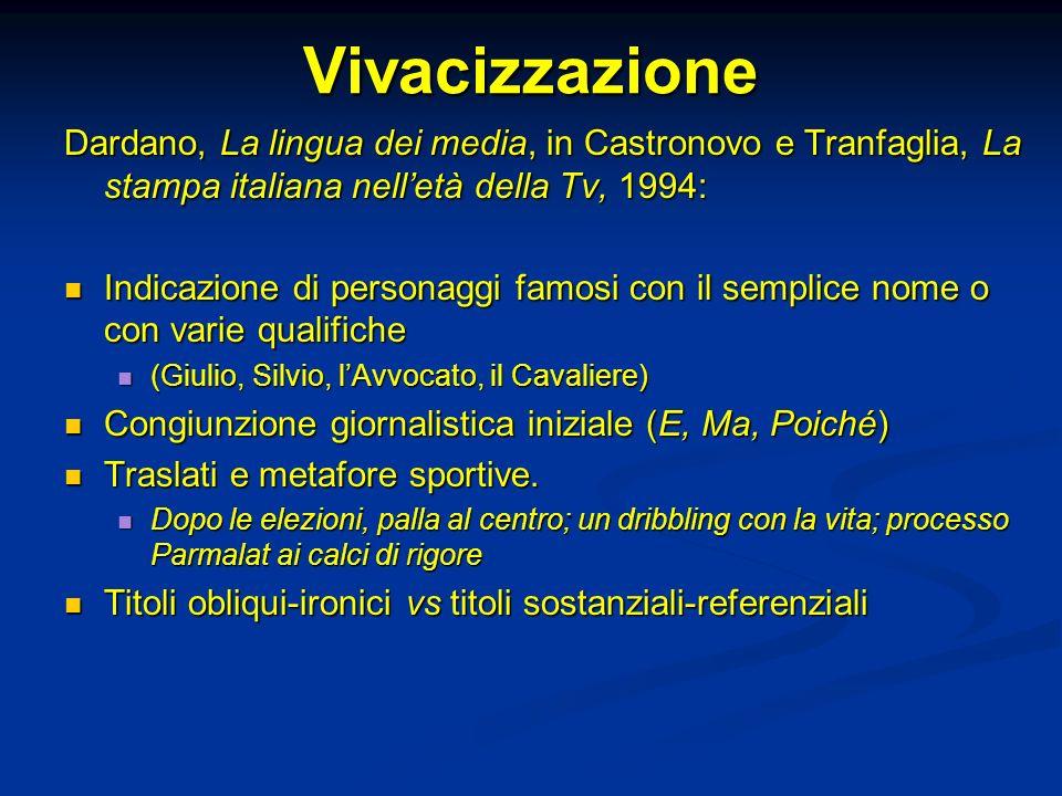 Vivacizzazione Dardano, La lingua dei media, in Castronovo e Tranfaglia, La stampa italiana nell'età della Tv, 1994: