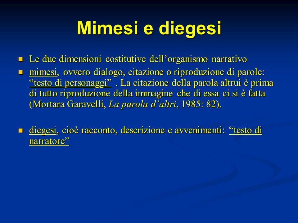 Mimesi e diegesi Le due dimensioni costitutive dell'organismo narrativo.