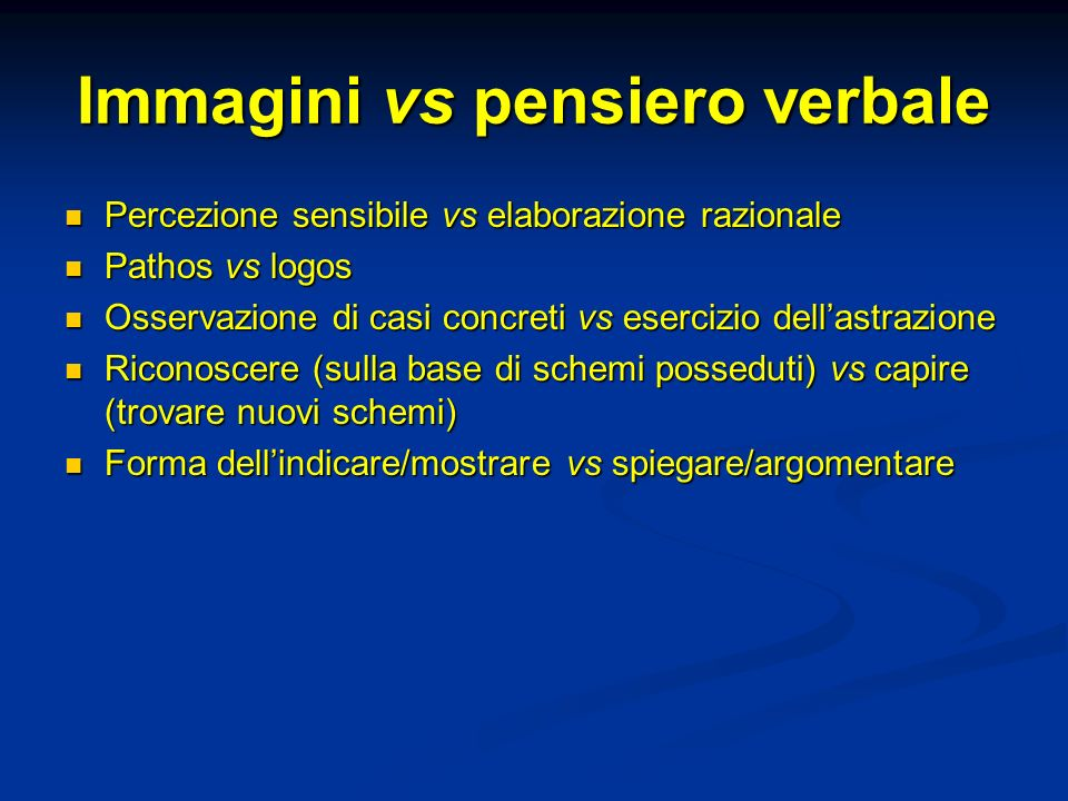 Immagini vs pensiero verbale