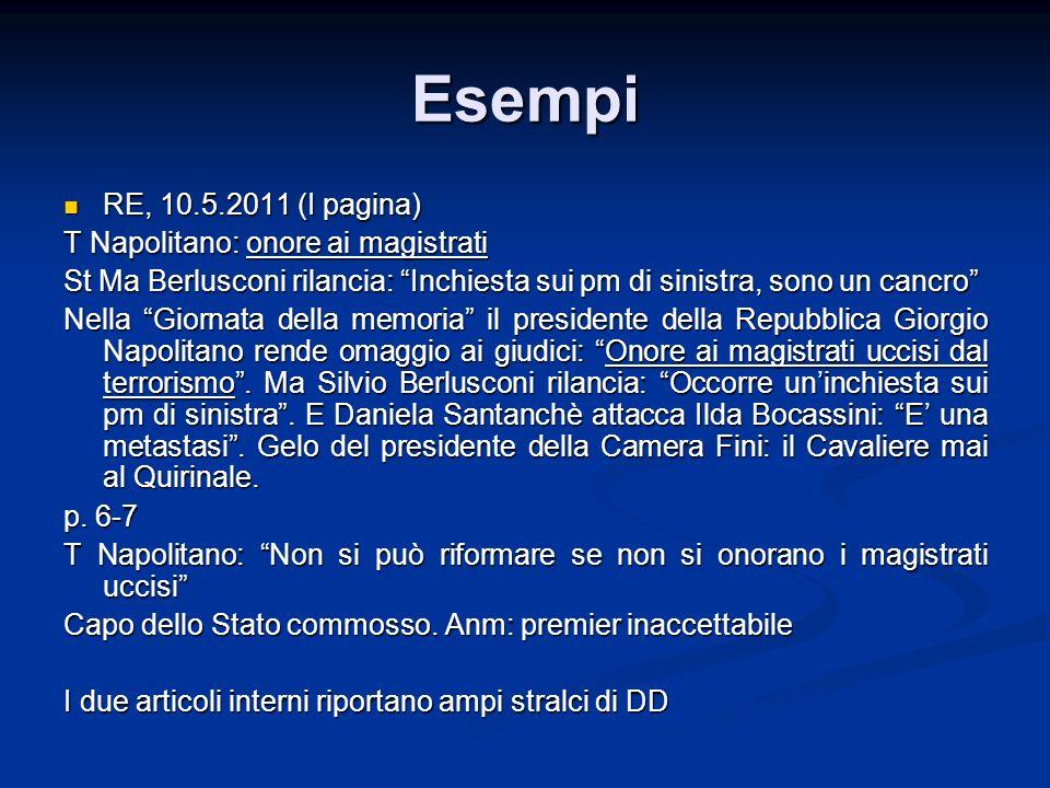 Esempi RE, 10.5.2011 (I pagina) T Napolitano: onore ai magistrati