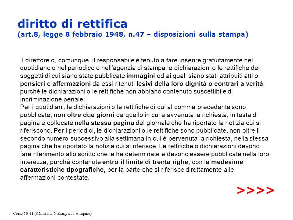 diritto di rettifica (art. 8, legge 8 febbraio 1948, n
