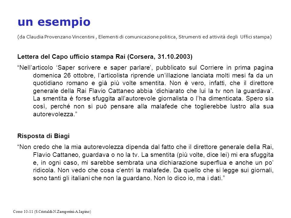 un esempio (da Claudia Provenzano Vincentini , Elementi di comunicazione politica, Strumenti ed attività degli Uffici stampa)