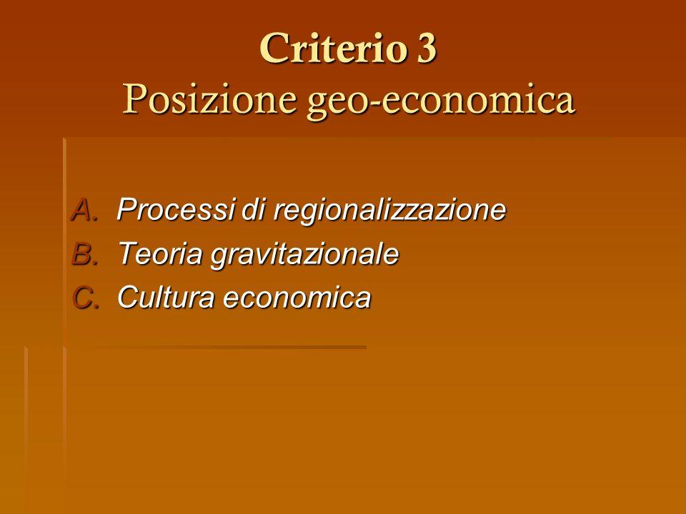 Criterio 3 Posizione geo-economica
