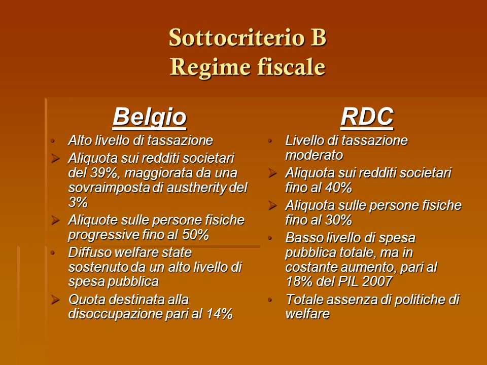 Sottocriterio B Regime fiscale