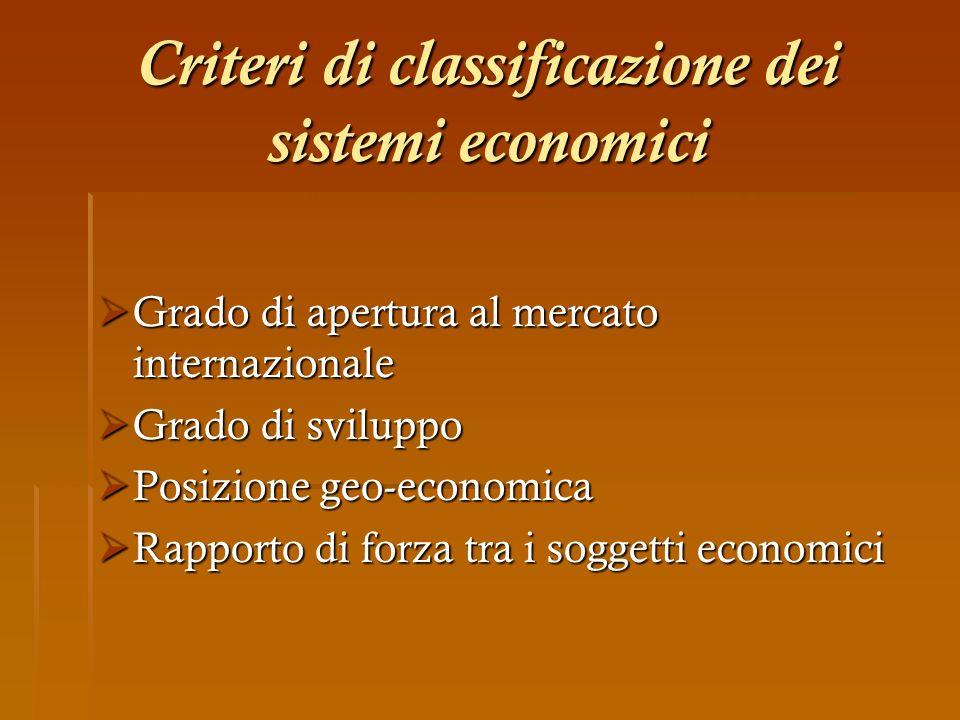 Criteri di classificazione dei sistemi economici