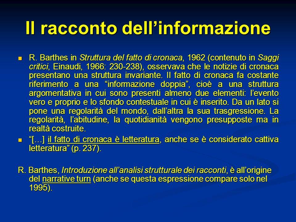 Il racconto dell'informazione
