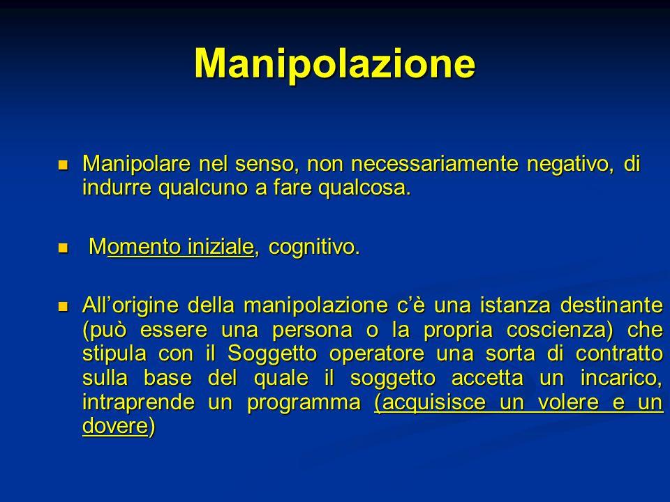 Manipolazione Manipolare nel senso, non necessariamente negativo, di indurre qualcuno a fare qualcosa.