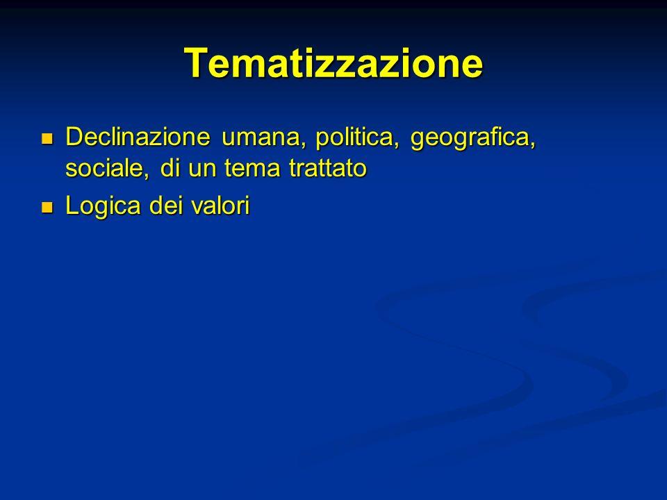 TematizzazioneDeclinazione umana, politica, geografica, sociale, di un tema trattato.