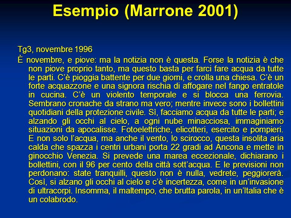 Esempio (Marrone 2001) Tg3, novembre 1996