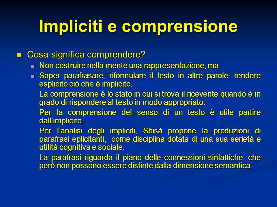 Impliciti e comprensione