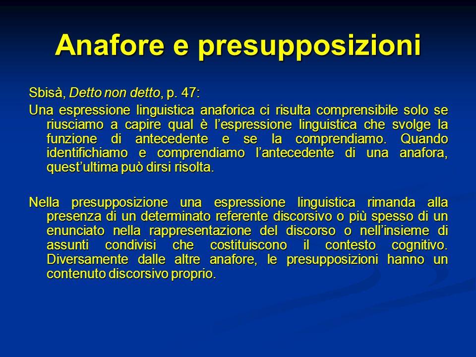 Anafore e presupposizioni