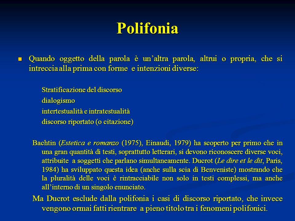 Polifonia Quando oggetto della parola è un'altra parola, altrui o propria, che si intreccia alla prima con forme e intenzioni diverse: