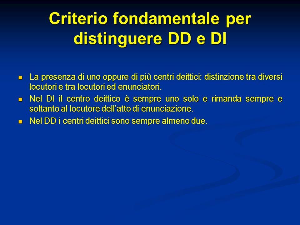 Criterio fondamentale per distinguere DD e DI