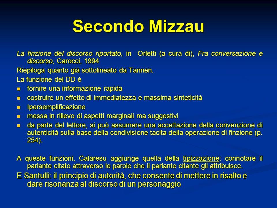 Secondo Mizzau La finzione del discorso riportato, in Orletti (a cura di), Fra conversazione e discorso, Carocci, 1994.