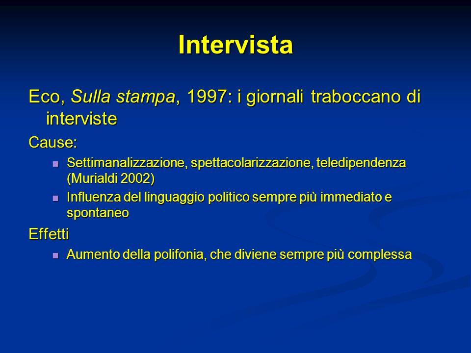 Intervista Eco, Sulla stampa, 1997: i giornali traboccano di interviste. Cause: