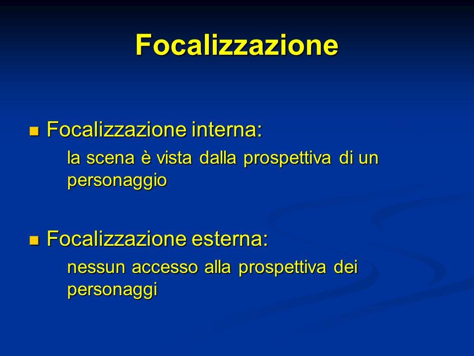 Focalizzazione Focalizzazione interna: Focalizzazione esterna: