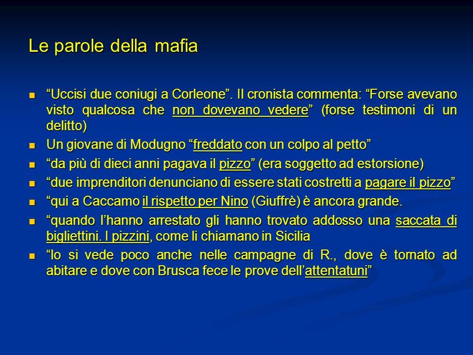 Le parole della mafia