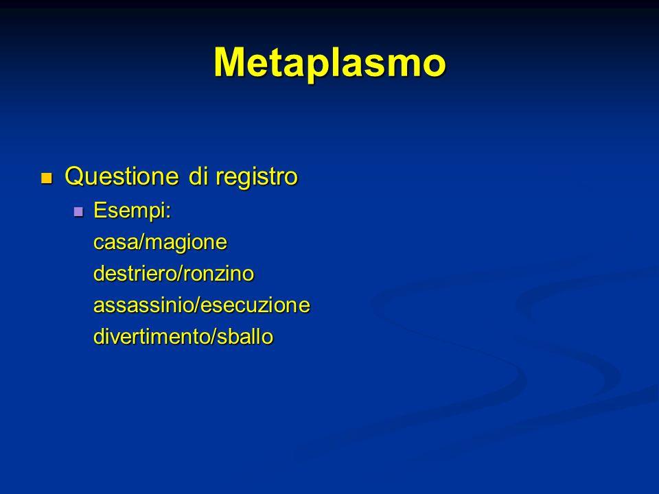 Metaplasmo Questione di registro Esempi: casa/magione