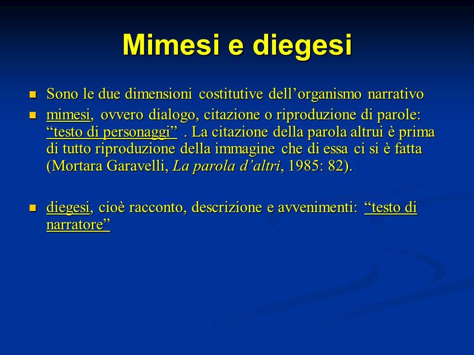 Mimesi e diegesi Sono le due dimensioni costitutive dell'organismo narrativo.
