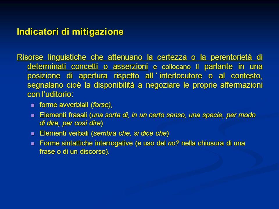 Indicatori di mitigazione