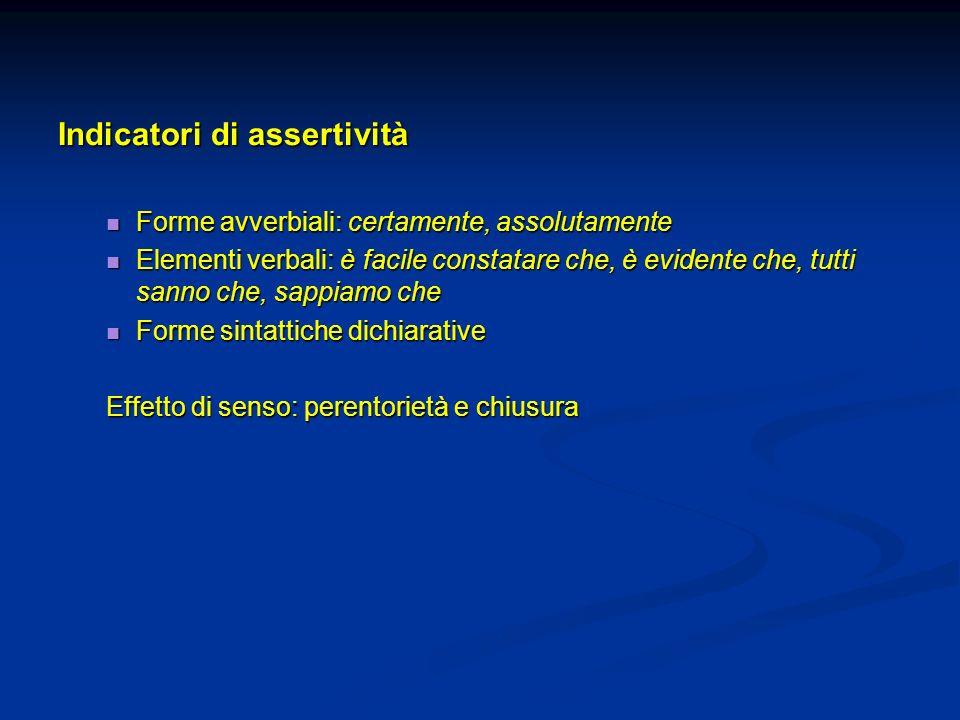 Indicatori di assertività