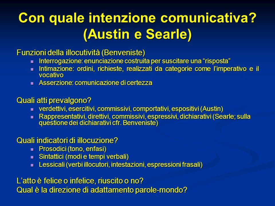 Con quale intenzione comunicativa (Austin e Searle)