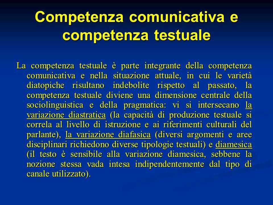 Competenza comunicativa e competenza testuale