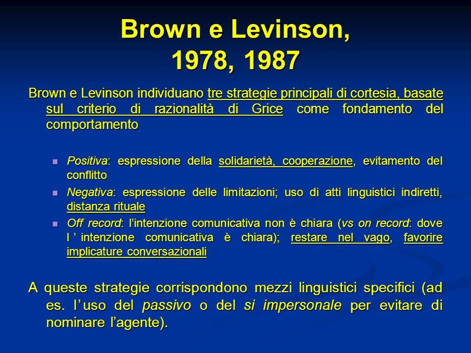 Brown e Levinson, 1978, 1987