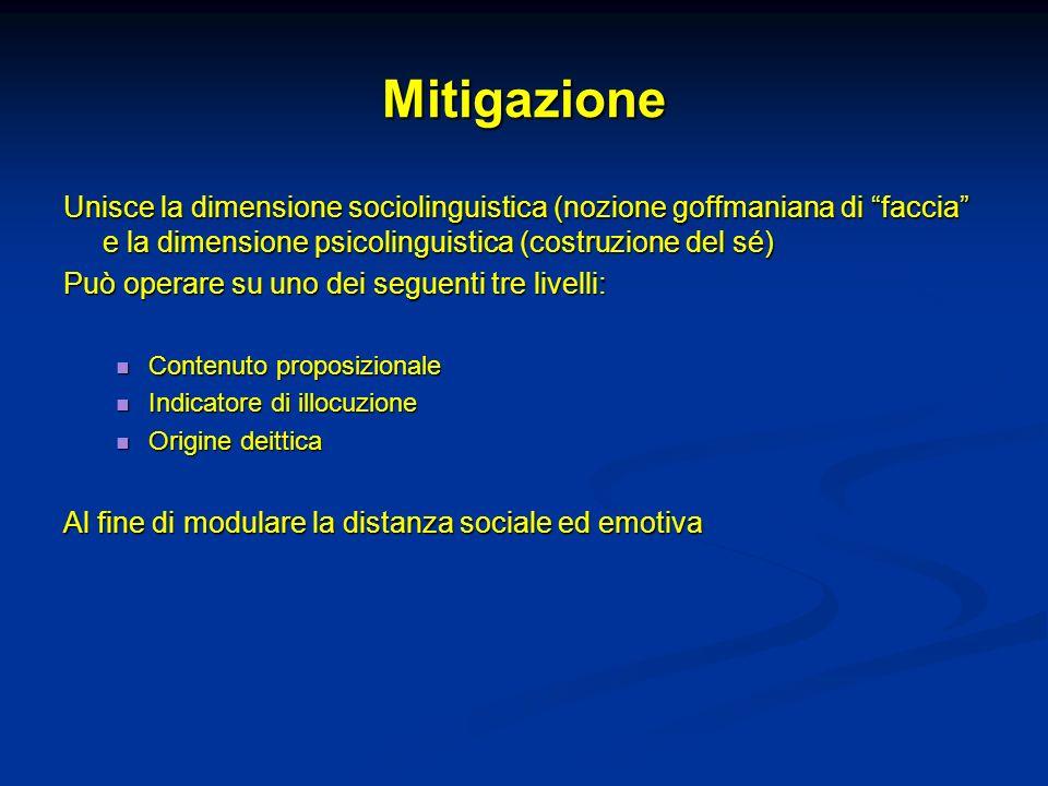Mitigazione Unisce la dimensione sociolinguistica (nozione goffmaniana di faccia e la dimensione psicolinguistica (costruzione del sé)