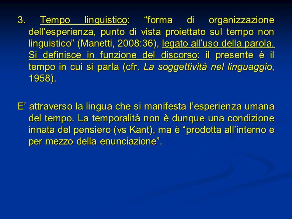 3. Tempo linguistico: forma di organizzazione dell'esperienza, punto di vista proiettato sul tempo non linguistico (Manetti, 2008:36), legato all'uso della parola. Si definisce in funzione del discorso: il presente è il tempo in cui si parla (cfr. La soggettività nel linguaggio, 1958).