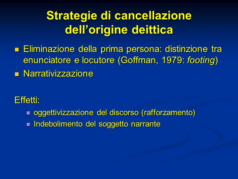 Strategie di cancellazione dell'origine deittica