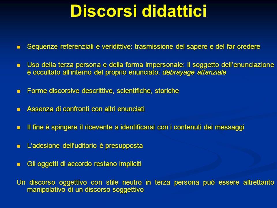 Discorsi didattici Sequenze referenziali e veridittive: trasmissione del sapere e del far-credere.